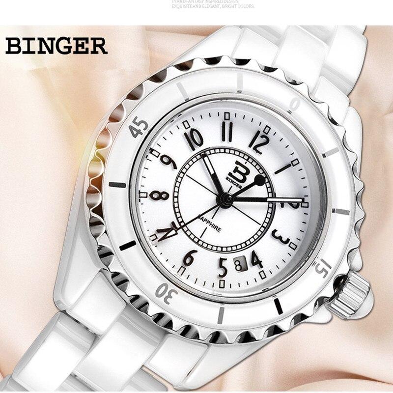 Montre de marque suisse de luxe classique Designer d'affaires femmes montres en céramique Bracelet à Quartz montre-Bracelet cristaux analogique Reloj