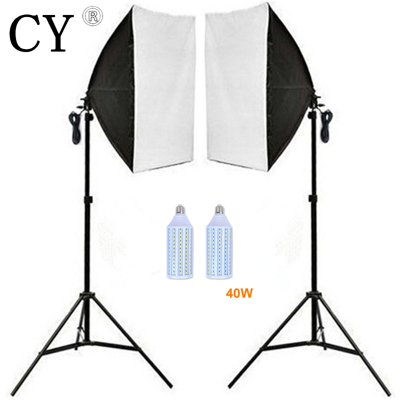Inno 2pcs 40w LED Light Photo Video Studio Light Stand Kit Photography 2*50*70cm Softbox With Single Socket+2*200cm Light Stand багажники inno