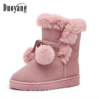 Women Snow Boots Large Size 35 40 Winter Boots Shoes Super Warm Plush Boots Pink Colors
