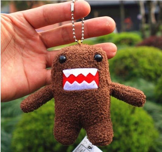 Free shipping Domo Kun Keychain 3inch Cute Plush Doll Toy 2pcs lot