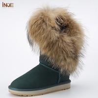 INOE fashion high nature fox fur women winter snow boots real sheepskin leather fur lined winter boots brown black non slip
