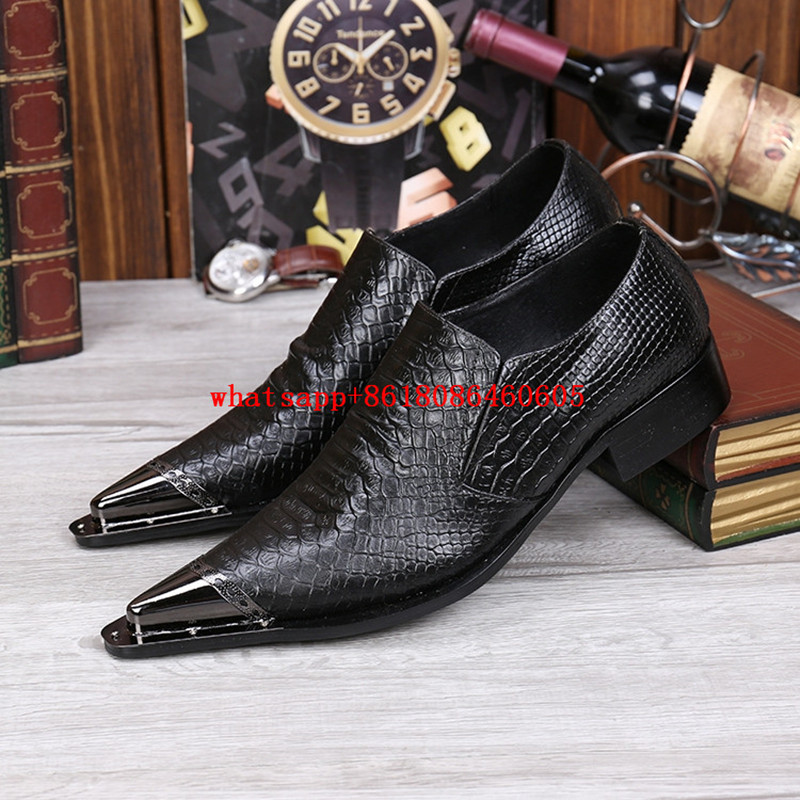 Choudory Mens Pointed Toe Dress Shoes Black Genuine Leather Men Loafers Alligator Shoes For Men Classic Formal Shoe Lasts choudory new winter men ankle italian shoes men leather shoes pointed toe mens black dress shoes sequined toe spiked loafers men