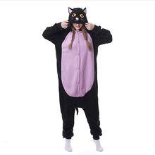 Animal Black Cat Onesie Belly Kigurumi Adult Women Fantasy One Piece Jumpsuit Polar Fleece Loose Cute Pajama Winter Sleep Suit