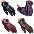 1 Par de Moda Bonito Bola De Pêlo Luvas De Couro para Luvas de Inverno Mulheres luvas Mitten Luvas Da Marca