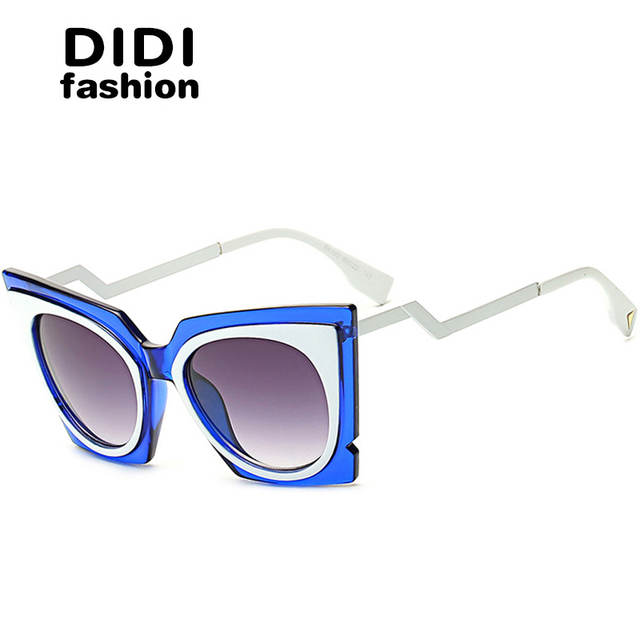 8652084b2078 placeholder DIDI 2017 Steampunk Cat Eye Sunglasses Women Twisted Triangle  Street Glasses Clear Frame Circle Lens Celebrity