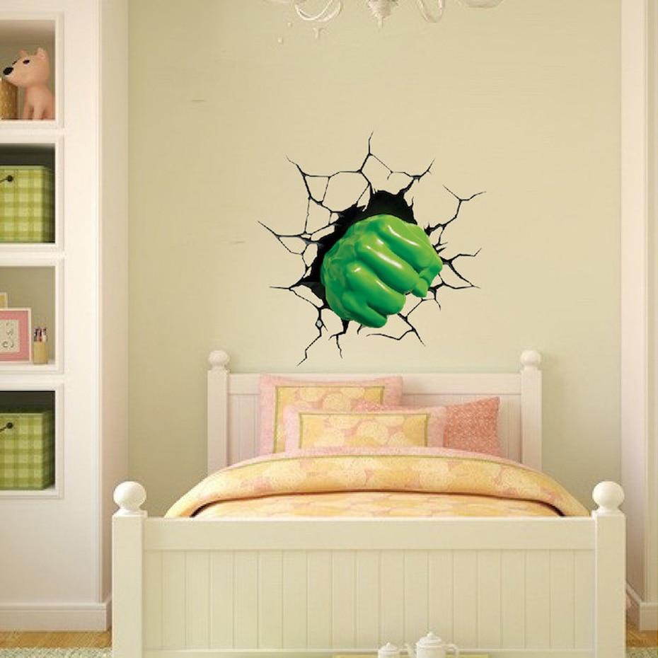 3D The Hulk Wall Sticker Super Hero cartoon people Decal Home Decor ...