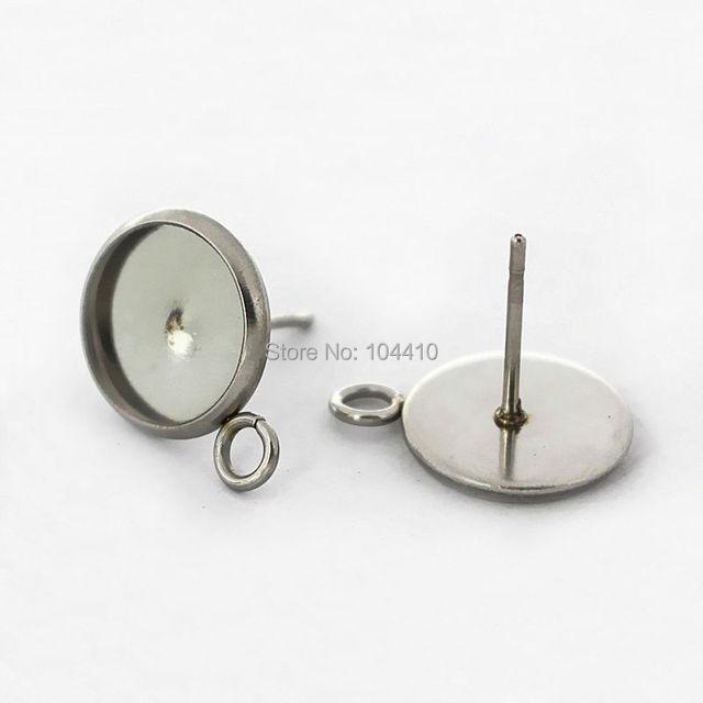 blank stainless steel stud earrings bases bezel with loop