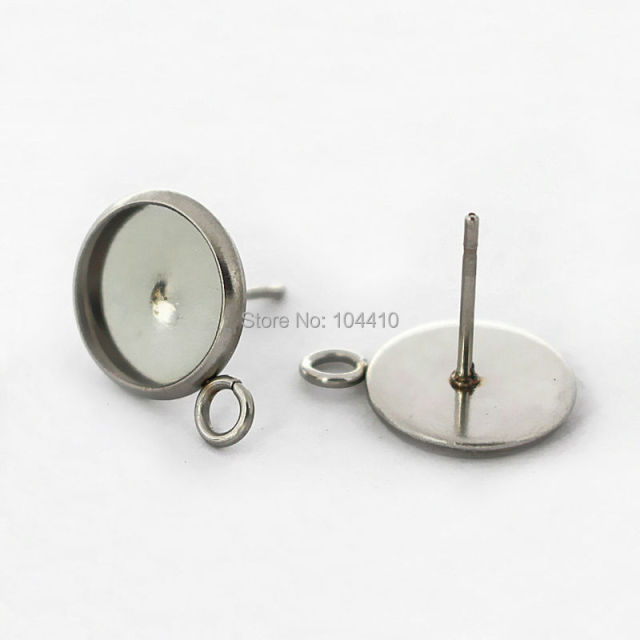 Blank Stainless Steel Stud Earrings Post Bases Round Bezel with Loop Side Pins  Back Glass Cameo Cabochons Earrings DIY Findings 65286eb5025a