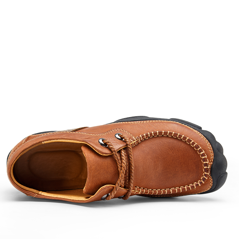 Véritable Brun Respirant Haute Kaki Chaussures En Cuir Casual Brown Qualité Hommes khaki q8rIwrAY