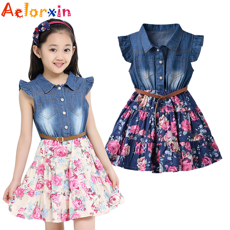 Summer Dresses For Girls Cotton Children Clothing Denim Baby Clothes Floral Short Sleeve Kids Clothes For Girls Princess Dress clearance baby dresses princess girls dress 2 5years cotton clothing dress summer clothes for girl