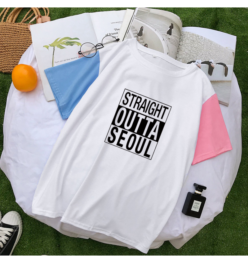 STRAIGHT OUTTA SEOUL T Shirts Women Summer Letter Print Hit Color Splicing Tshirts Harajuku Cotton Tops Streetwear Camisas Mujer (4)