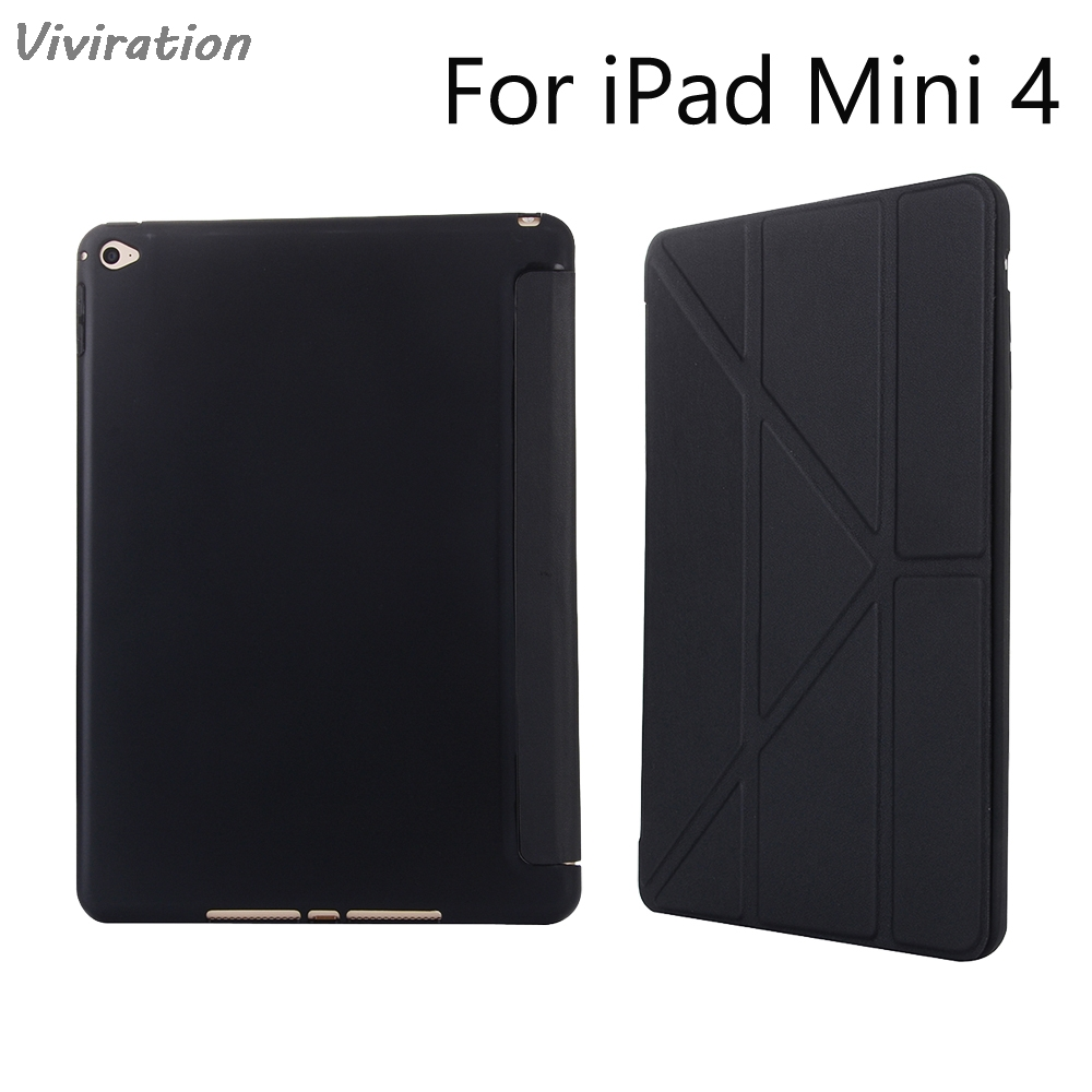 Viviration Cover For iPad Mini 4 7.9 inch Soft TPU Skin Fold Cover Stand For New iPad Mini 4 Tablet Wholesale