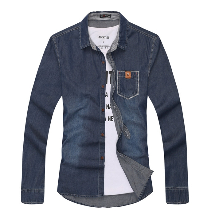 6cba169a77a Stylish Pocket Men Dress Shirt Light/Dark Blue Casual Shirt Jean Shirt  Figure Flattering Size M XXL-in Casual Shirts from Men's Clothing on  Aliexpress.com ...