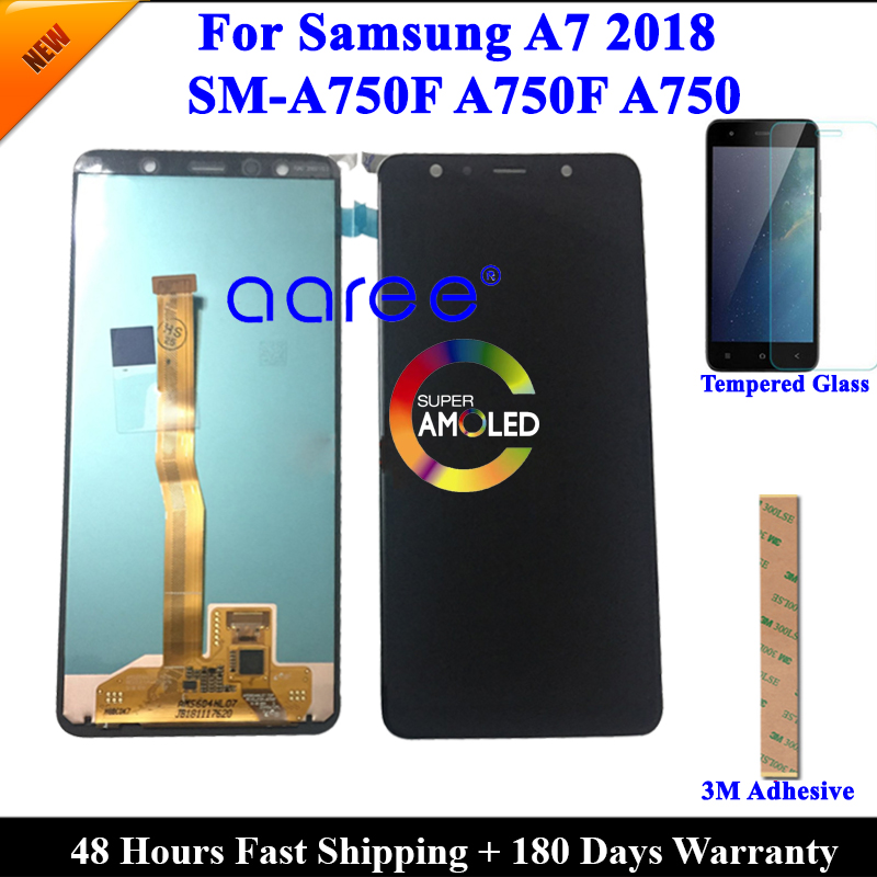 Super AMOMLED Original LCD For Samsung A7 2018 A750 LCD A750 lcd For Samsung A750F A7