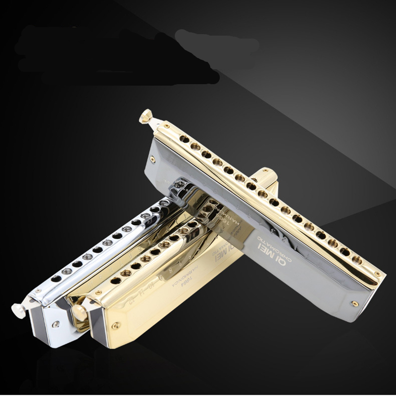 High-end Chromatic Harmonica 16 Holes 64 Tones Gold Black Sliver Laser Proceeded Woodwind Musical Instrument QiMei Harp QM1664