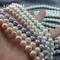 SOUAIME Natural Freshwater Pearl Necklace Strong Light AAAA 8 10mm White Pink Purple Oblate Pearl Necklace