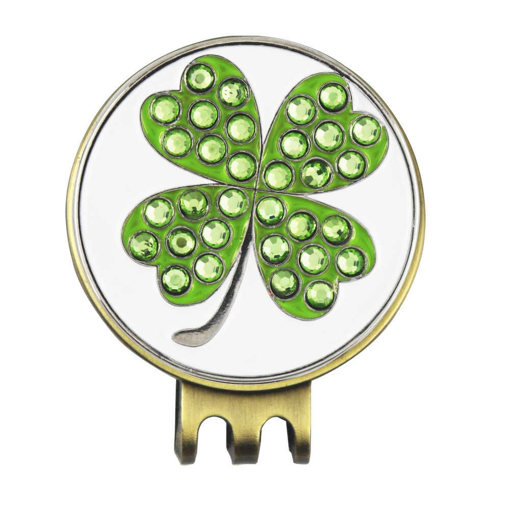 Free Shipping 2 sets Crystal Clover Golf Ball Marker with Antique Brass  Plating Magnetic Golf Hat Cap Clip 6d103e11d70c