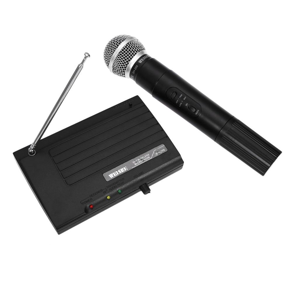 New WEISRE SH-200 Professional Karaoke Wireless Handheld VHF Dual Channel Transmitter Microphone Set For Studio Karaoke Radio weisre u 3316 720 770mhz uhf dual channel transmitter karaoke professional wireless handheld microphone set with 2 microphone