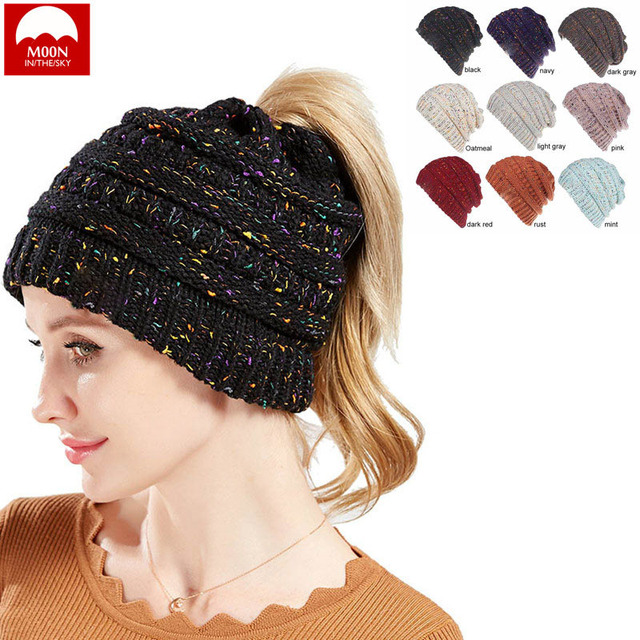 e108b0434 US $3.69 10% OFF|Moon Winter Woman Hat Flower Line Motley Wool Knitted Hole  Cap Ponytail Braid Skiing Fashion Warm Youth Wild Leisure MZ 009-in ...