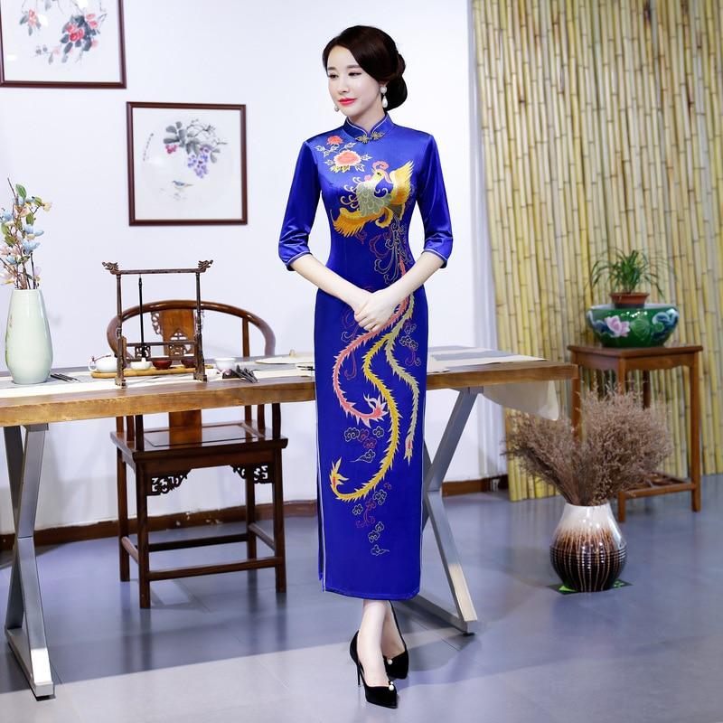 Automne bleu femmes Qipao Mandarin col fait main bouton velours Cheongsam nouveauté chinois robe formelle grande taille M L XL XXL XXXL