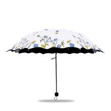New Sun Umbrella Folding Protection UV Men and Women Red Blue Rose Flower Pattern