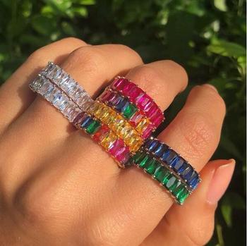 93204e081362 5 colores 2019 nuevo diseño AAA baguette zirconia cúbica anillo de  compromiso colorido cz moda joyería para mujer