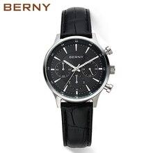 Berny Men's Business Quartz Watches with Genuine Leather Strap Wristwatch Male Waterproof watch