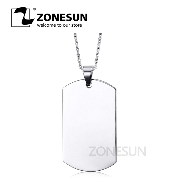 fec19ad4c9 ZONESUN Stainless Steel Silver Blank Dog Tag Pendant Husband Wife  Friendship Gift Personalized Necklace