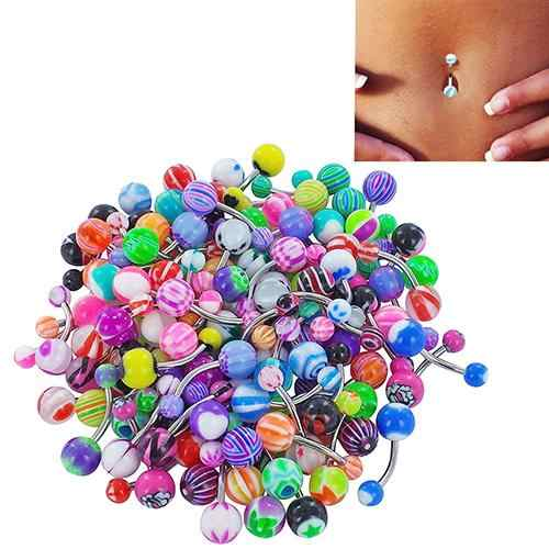 30 Pcs/set Colorful Sexy Belly Bars Body Piercing Button Ring Navel Barbell Jewerly Lip Piercing Unisex Fashion Jewelry