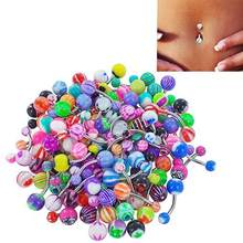 30 Pcs/set Colorful Sexy Belly Bars Body Piercing Button Ring Navel Barbell Jewerly Lip Piercing Unisex Fashion Jewelry(China)