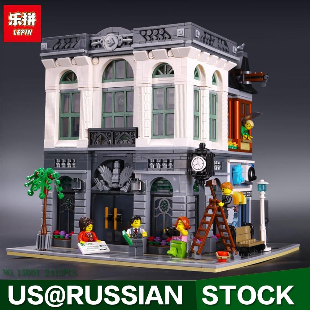 LEPIN 15001 Brick Bank Model Building Kits Blocks Bricks Kits Toy Compatible With 10251 ynynoo bela 10501 233pcs princess friend elves elvendale school of dragons model building kits blocks brick with 41173