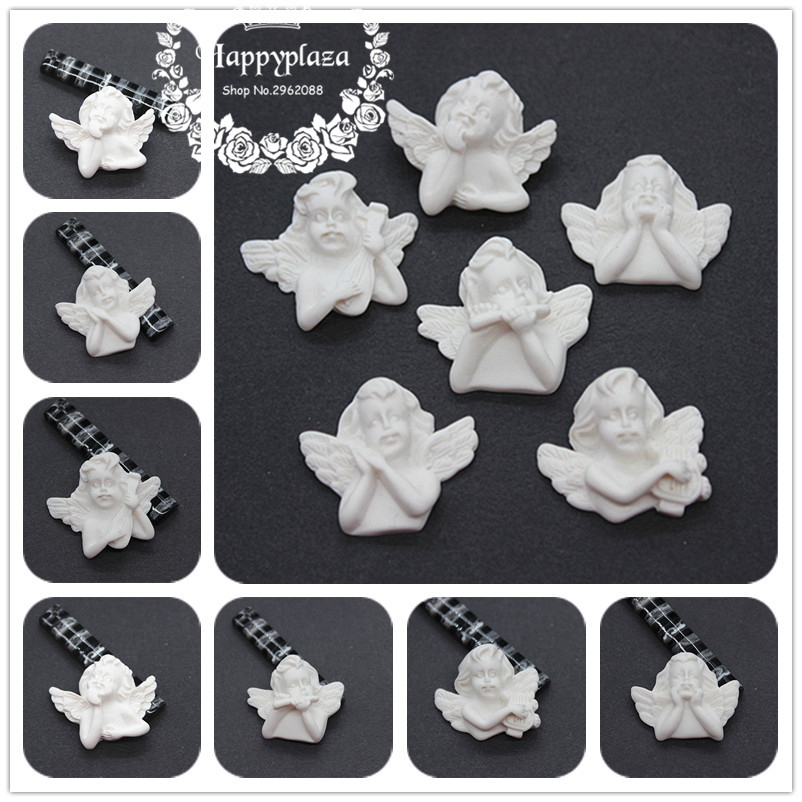 10cs Cute New Resin White European Cupid Angel Cameo Miniature Flatback Cabochon Art DIY Craft Decoration