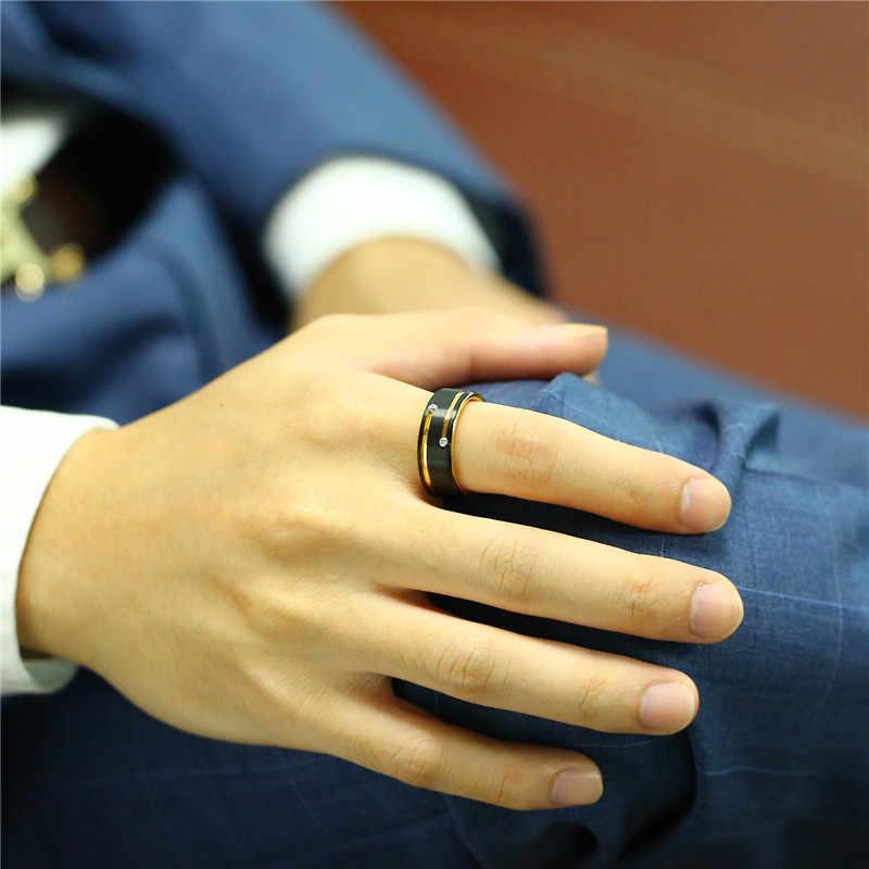 ZORCVENS สีดำทังสเตนคาร์ไบด์โทนสีทองเส้น AAA CZ แหวนหินสำหรับคุณภาพสูง