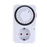 24 Hour Mechanical Electrical Plug Program Timer Power Switch Socket Energy Saver EU Plug White Color