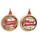 19.8X16.5X2.3cm Wooden 3D Merry Christmas Letter Pendants Laser Wood Christmas Ball Hanging Decoration