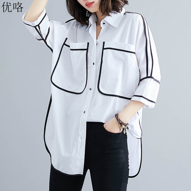 443c83b40e91010 Plus Size Summer Shirt Blouse Women Korean Vintage Loose White Shirts  Ladies Large Size Womens Tops
