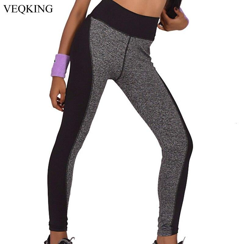 4497d56832c VEQKING Plus Size Black Gray Running Tights Pants