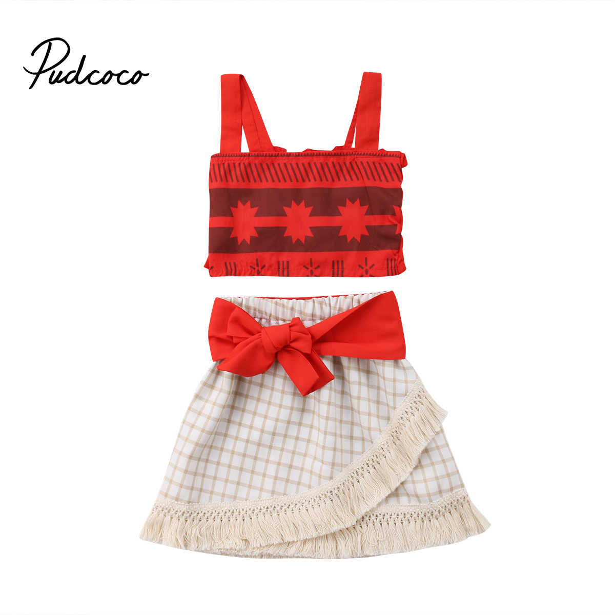 1908af6fc Moana Toddler Kids Baby Girl Cartoon Clothes Sleeveless Crop Tops+Tassel  Skirt 2PCS Outfits Cosplay