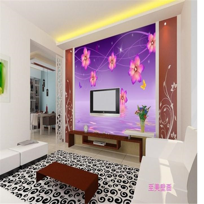 tv living bedroom painting mural seamless wall murals parede background