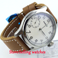 47mm parnis white dial  6497 movement hand winding mens watch