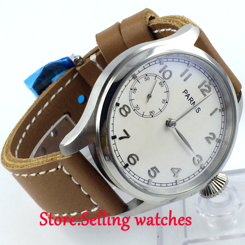47mm parnis white dial seagull 6497 movement hand winding mens watch