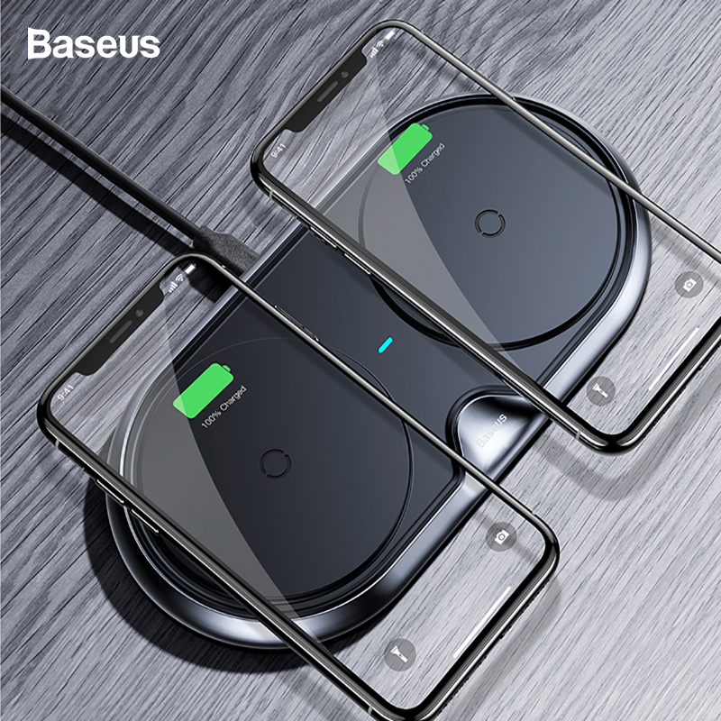 Baseus 2 in 1 Dual QI Wireless Charger For iPhone X 8 10 Samsung S9 S8
