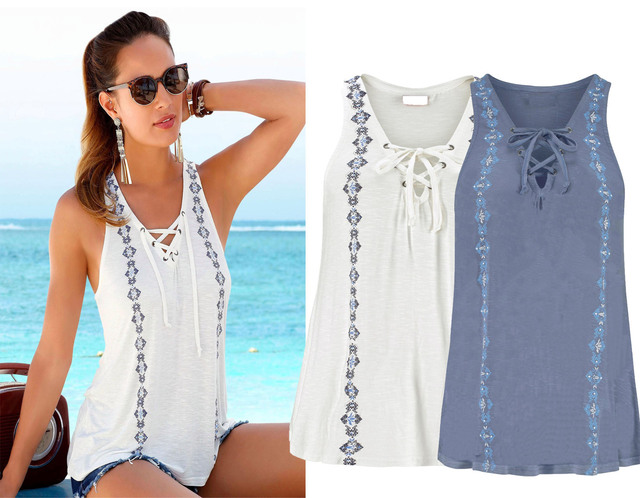 9b4ad5a86a6928 White Blue Sleeveless T-shirt Women Summer Bandage Ties Tank Tops Sexy Low  Cut V