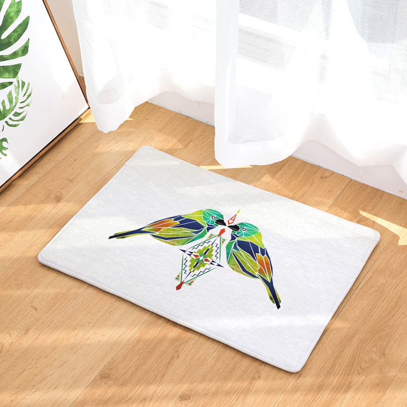 Color Cartoon Bird Print Bedroom Door Entrance Carpet Doormat Rug Non Slip  Bathroom Living Room