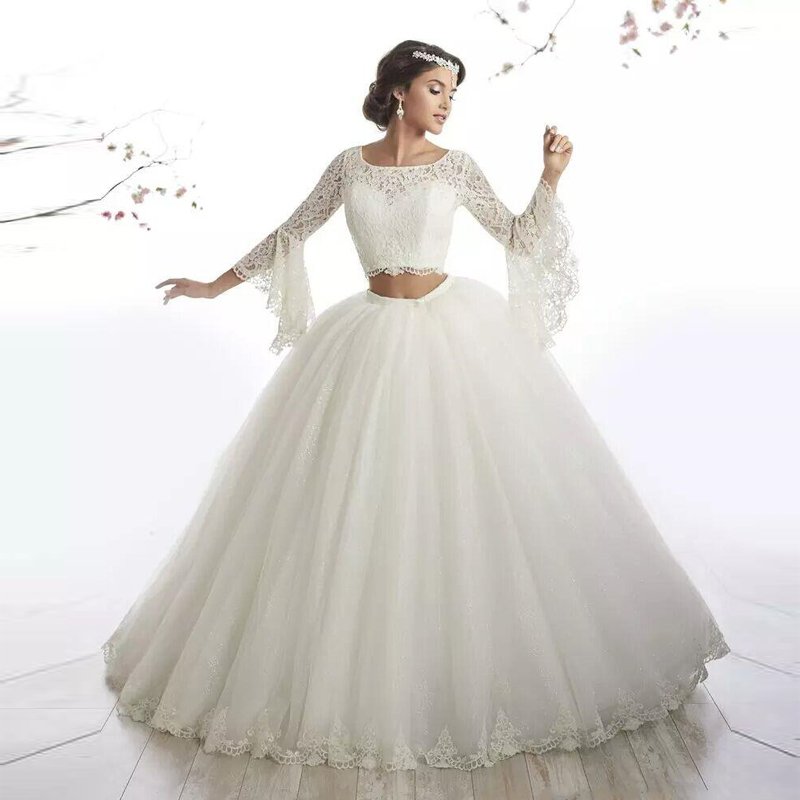 Us 109 65 15 Off Ball Gown Two Piece Wedding Gowns Flare Sleeves Lace Tulle Floor Length Indian Bridal Gowns Plus Size Women Maxi Dresses In Dresses