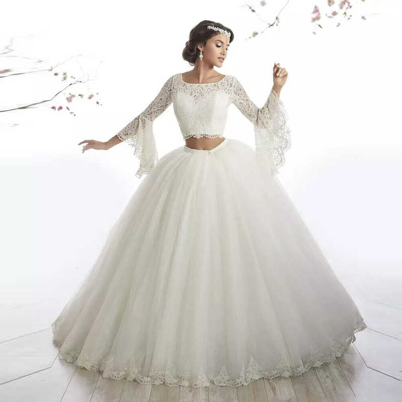 Ball Gown Two Piece Wedding Gowns Flare
