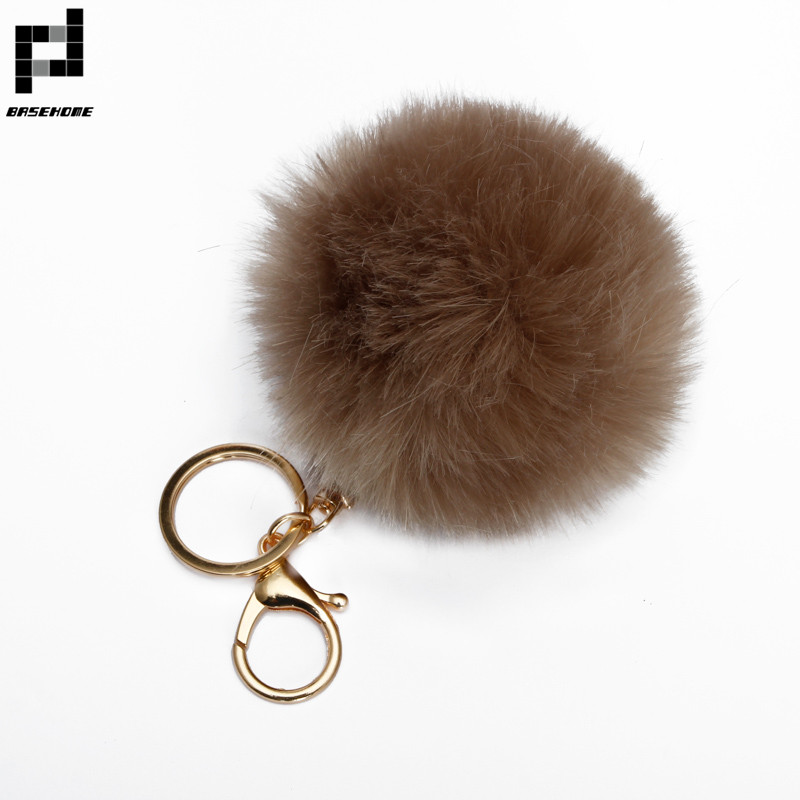 BASEHOME Trinket Pompons Keychains Faux Rabbit Fur Keychain Fluffy Key Chains Trinkets Pom Pom Keychain(Gold Color Chain) 3
