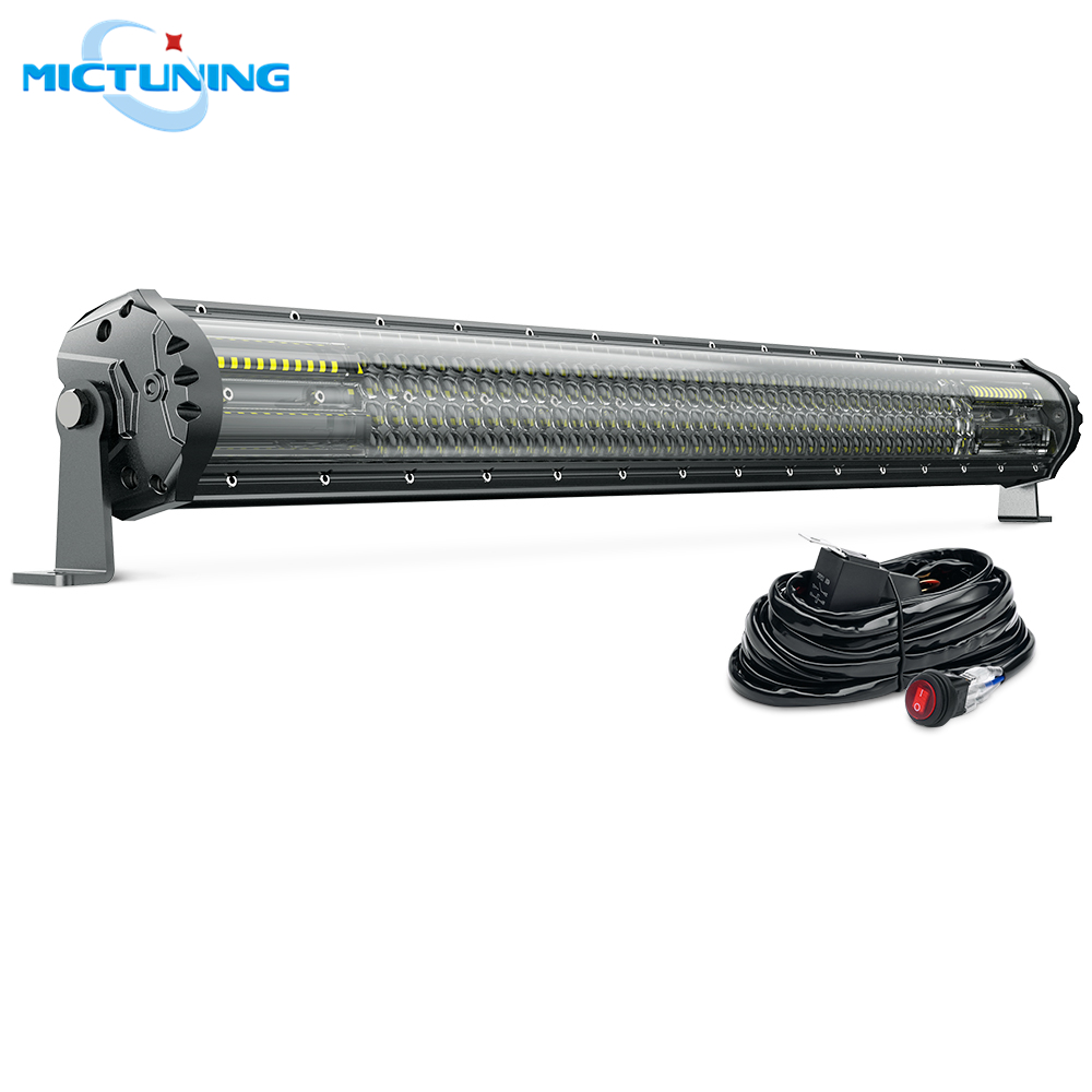 MICTUNING M2 Quad Row 31 Off Road Combo Driving Work Lamp w Wiring Harness Aerodynamic LED