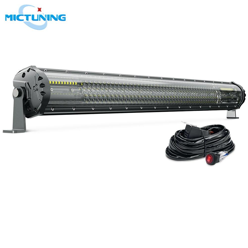 MICTUNING M2 Quad Row 31'' Off Road Combo Driving Work Lamp W/ Wiring Harness Aerodynamic LED Light Bar For Jeep ATV Trucks Boat
