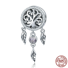 Hot Sale Pure 925 Sterling Silver Dream Catcher & Tree Of Life Charm fit Original S925 Bead Bracelet Jewelry Gift DXC723 wostu high quality 925 sterling silver dream catcher colorful cz charm bracelet bangle for women luxury s925 jewelry gift fib809
